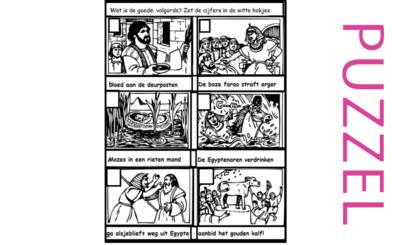 Puzzel – Exodus 5, 6, 7, 8, 9, 10, 11, 12, 13 – Mozes, Aaron, Farao,10 plagen, paasfeest, uittocht 12