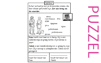 Puzzel – Genesis 25, 27 – Jakob, Ezau, zegen 1