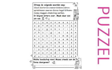 Puzzel – Exodus 5, 6, 7, 8, 9, 10, 11, 12, 13 – Mozes, Aaron, Farao,10 plagen, paasfeest, uittocht 3