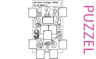 Puzzel – Exodus 5, 6, 7, 8, 9, 10, 11, 12, 13 – Mozes, Aaron, Farao,10 plagen, paasfeest, uittocht 4