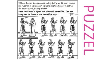 Puzzel – Exodus 5, 6, 7, 8, 9, 10, 11, 12, 13 – Mozes, Aaron, Farao,10 plagen, paasfeest, uittocht 5