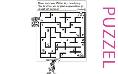 Puzzel – Exodus 1, 2, 3 – Mozes, prinses, rieten mandje, vlucht Midian, brandende braamstruik 7