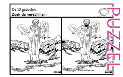 Puzzel – Exodus 19, 20, 24, 32, 33, 34, Deuteronomium 4, 5, 6, 7, 8, 9, 10, 11, 12, 17, 26, 27, 28, 30, 31 – Mozes, woestijn, wet, gouden kalf 6