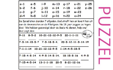 Puzzel – Rechters 10 – Richteren, afgoden, God redt, afgoden, God redt, …., hulpvraag, God weigert