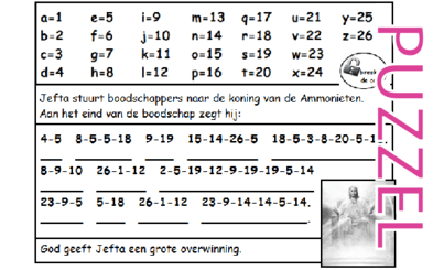 Puzzel – Rechters 11, 12, 1 Samuël 12, Hebreeën 11 – Richteren, Jefta 3