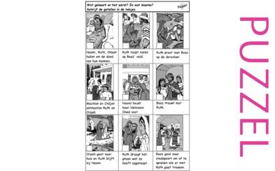 Puzzel – Ruth 1, 2, 3, 4, Deuteronomium 25, Mattheüs 1 – Noömi, Naomi, Elimelech, Machlon, Kiljon, Orpa, Ruth, Boaz, volgorde