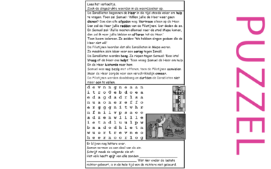 Puzzel – 1 Samuel 4, 5, 6, 7 – Samuel, bekering Israëlieten, Filistijnen, God, onweer