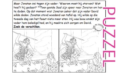 Puzzel – 1 Samuel 18, 19, 20 – David en Jonathan, Jonatan, Saul, speer, plan pijl 12