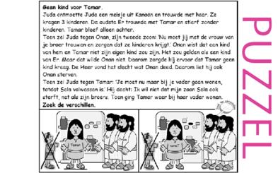 Puzzel – Genesis 38, Ruth 4, 1 Kronieken 2, Matteüs 1 – Juda, Tamar krijgt geen kinderen 1
