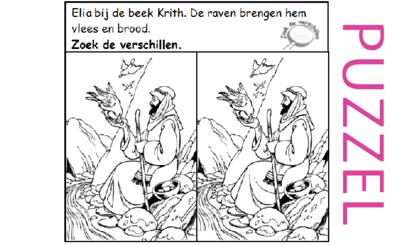Puzzel – 1 Koningen 17 – Achab, Izebel, Baäl, Elia, geen regen, beek Krith, raven