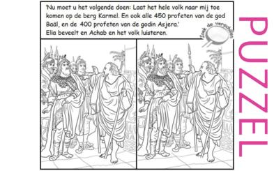 Puzzel – 1 Koningen 18 – Achab, Izebel, profeten Baäl, Elia, geen regen