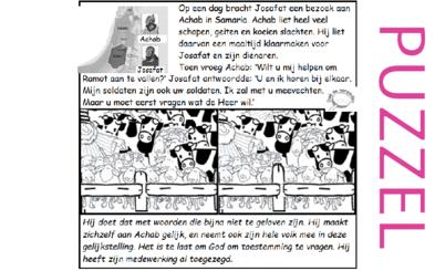Puzzel – 1 Koningen 22, 2 Kronieken 18 – Achab: meevechten? Josafat: ja, wat Gods wil?