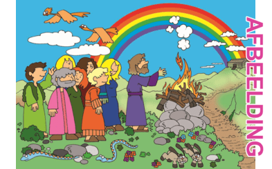 Bijbelse afbeeldingen en kleurplaten – Genesis 8, 9 – Noach, regenboog, Gods belofte, zondvloed