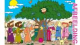 Bijbelse afbeeldingen en kleurplaten – Lucas 19 – Boom, Jezus bezoekt  tollenaar Zacheüs, mensen boos