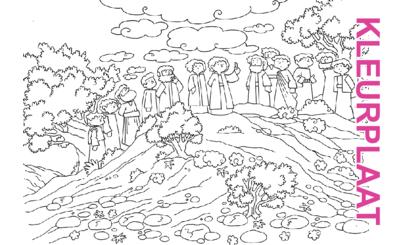 Bijbelse afbeeldingen en kleurplaten – Marcus 16, Lucas 24, Handelingen 1 – Jezus' hemelvaart, belofte komst Heilige Geest