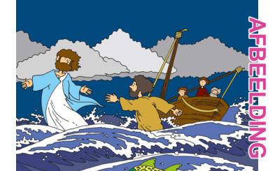 Bijbelse afbeeldingen en kleurplaten – Mattheüs 14 – Storm, Petrus loopt op water, ongeloof, Jezus help!
