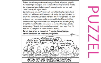 Puzzel – 2 Koningen 6 – Elisa waarschuwt voor Aram, soldaten verblindt
