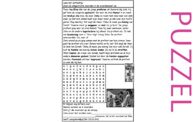 Puzzel – 1 Koningen 21, 19, 2 Koningen 9 – Elisa, Jehu gezalfd, Achab, Izebel