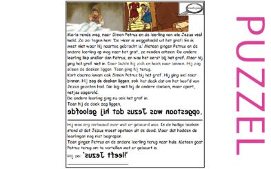 Puzzel – Lucas 24, Johannes 20 – Pasen, Petrus, Johannes bij graf, zie filmpjes paasdossier